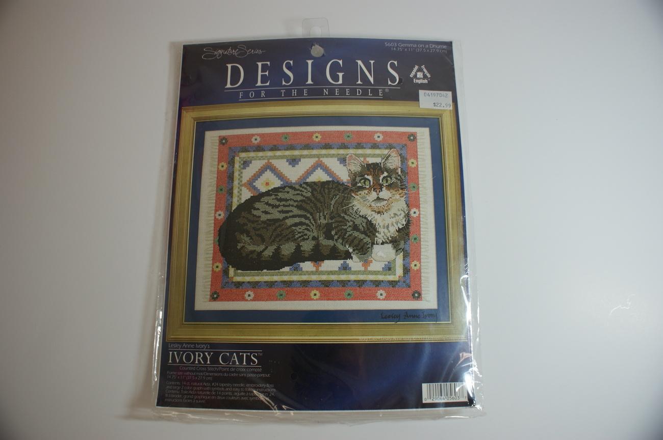 Cross Stitch Cat Kit Lesley Ivory Gemma Cat Complete NIP!