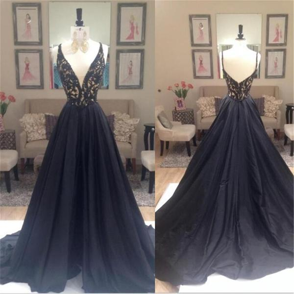 Deep v neck a line elegant custom party cocktail evening long prom dresses online pd0198