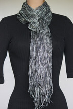 NEW Collection 18 Eighteen Women's Neck Scarf Fringed Black Gray Silver ... - $10.88