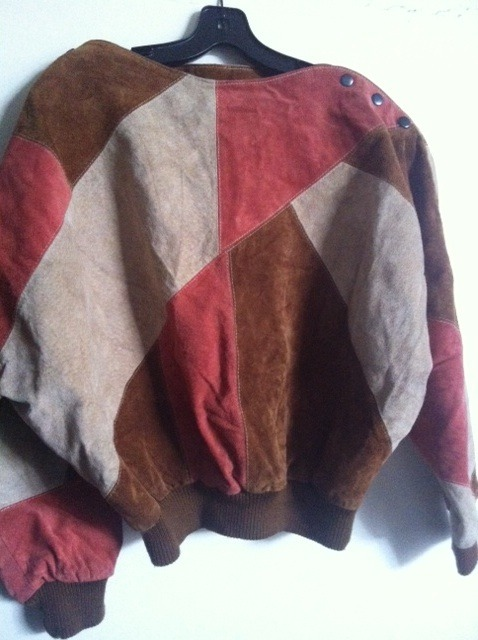 URBAN RENEWAL Urban Outfitters patchwork leather sweater jacket '80s style RARE!