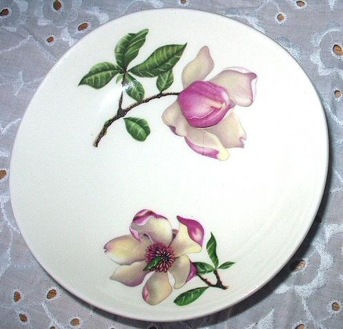 Pink Magnolia Flowers-Bread/Butter Plate-Crooksville Iva-Lur