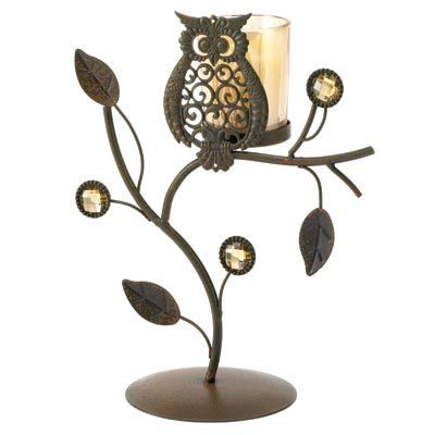 Cute owl ornament on Votive Holder almost 9 inches high Iron, glass