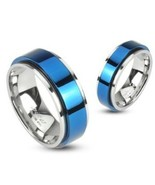 316L Stainless 2 Tone Double Layered Ring with Blue IP Spinning Center S... - $11.95