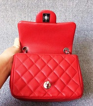 AUTHENTIC CHANEL RED QUILTED CAVIAR SQUARE MINI CLASSIC FLAP BAG SHW image 7