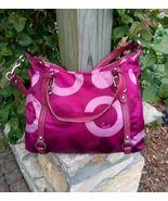 Coach Alexandra Satchel Shoulder Bag Purple Plum Pink Signature 15530 Ha... - $79.99