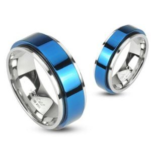 316L Stainless 2 Tone Double Layered Ring with Blue IP Spinning Center Size 8