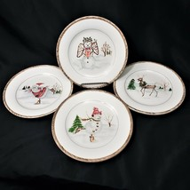 American Atelier CHRISTMAS TWIGS 4 Salad Luncheon Plates - $33.88