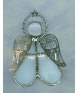 Handmade Stained Glass Angel  Filigree Christmas Tree Ornament Suncatcher - $6.49
