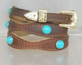 Brown HATBAND Scalloped LEATHER with TURQUOISE CONCHOS and Buckle Set Ha... - $24.13