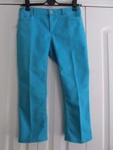 Chico's Platinum Size 0.5 (S 6) Turquoise Blue Ultimate Fit Crop Denim J... - $32.55