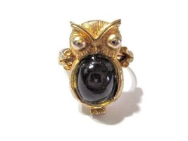 VINTAGE OWL RING FIGURAL ADJUSTABLE GOLD TONE WITH DARK GRAY JELLY STYLE... - $25.00