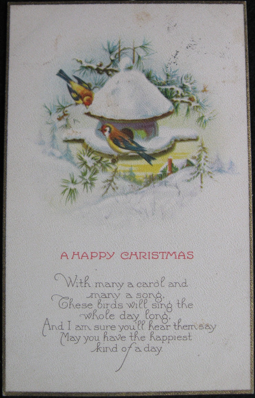 Primary image for Stecher Lithography, Divided-back, Surface Embossed, Christmas Postcard, A Happy