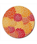 Orange Flowers Pattern Round Computer Mouse Pad Mat Mousepad New - $11.69