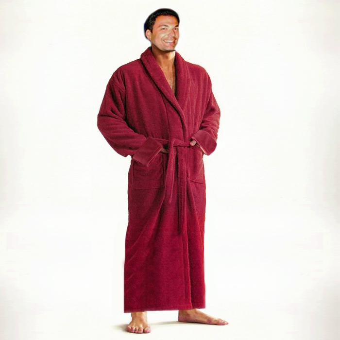 Luxury Shawl Velour Bathrobe in Red, Size Universal, UNISEX