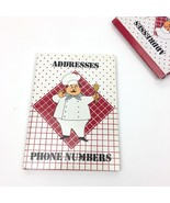 Vtg Retro Address Phone Number Red Hardcover Notebook Chef Checkers Dots... - $20.56