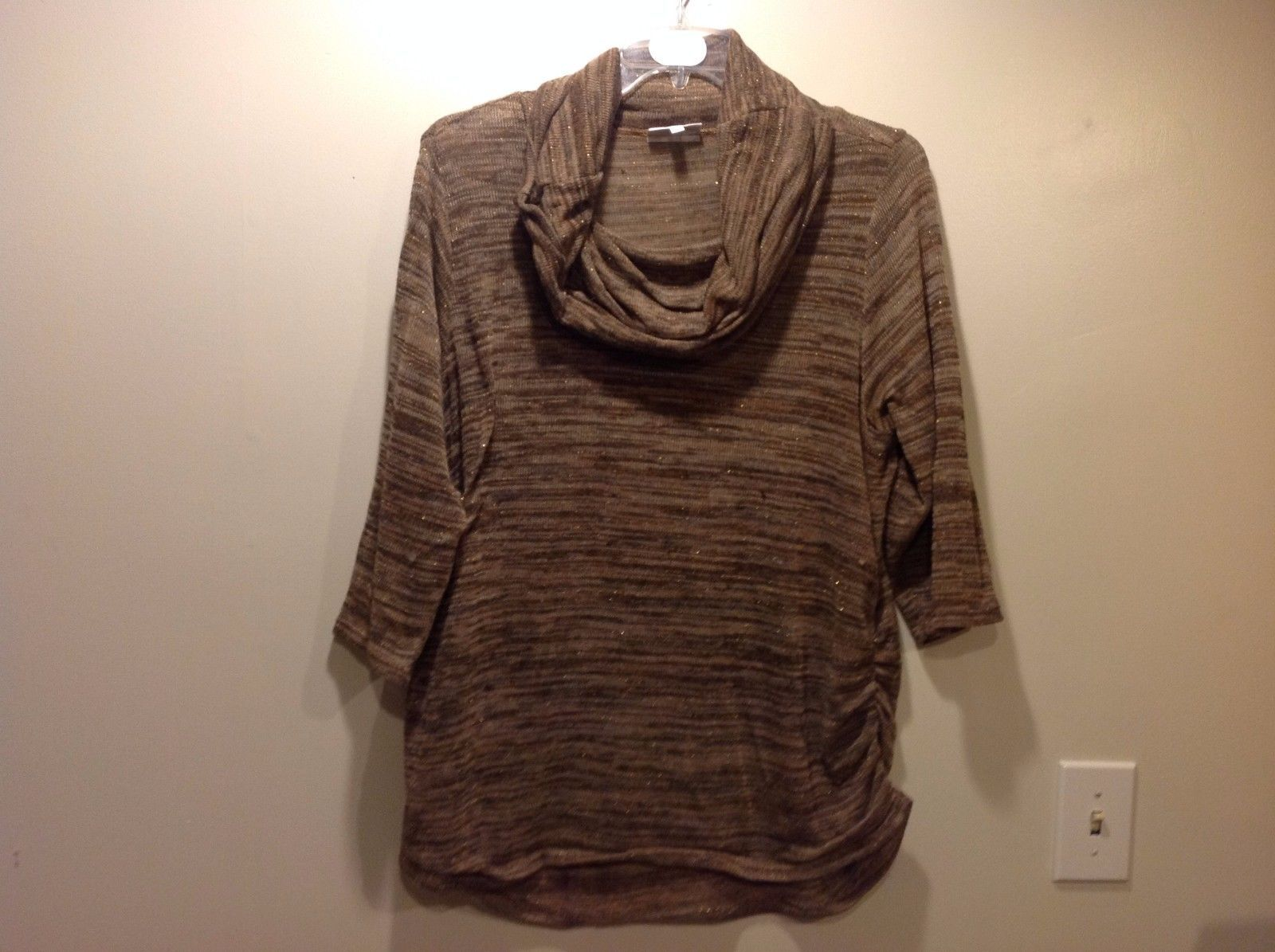 Fashion Bug Brown Heathered Sparkly Cowl Neck Thin Sweater Sz 2X