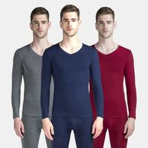 Long johns men modal thin thermal underwear V neck elastic body shapers ... - $31.85+