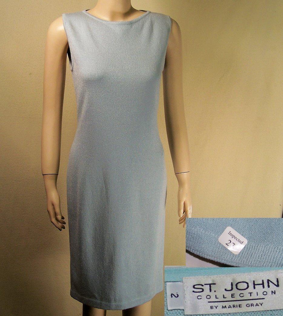 St John Marie Gray santana knit blue dress size 2