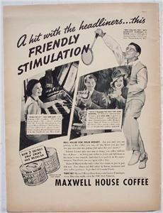 1937 Maxwell House Coffee Celebrity Vintage Ad