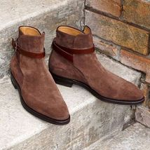 Handmade Ankle Peach Jodhpurs Boot, Full Suede Leather Boot For Men's - $149.99+