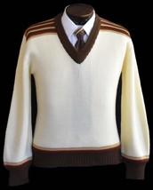 Vintage 70s Mens Rib Knit Sports Sweater Size Medium to Large - $64.99