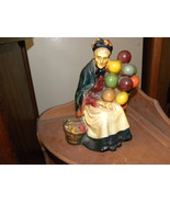 Figurine Balloon Lady Chalkware Red Yellow Blue... - $40.00
