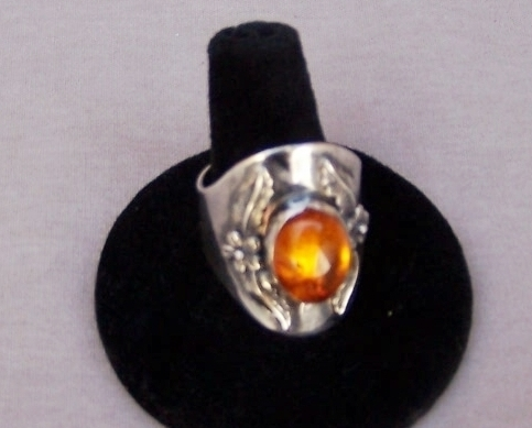 GENUINE AMBER Ring, Sterling Silver, Size 10  NEW