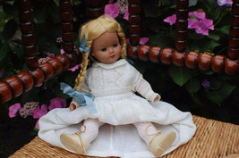 Antique Germany Blonde Girl Doll with Braids Christening Gown 2 pair shoes - $241.65
