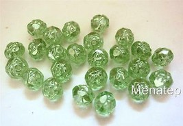 25 5 x 6mm Czech Glass Fire Polished Small Rosebud Beads: Luster - Peridot - $2.72