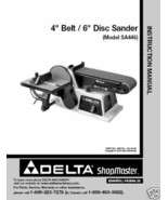 "Delta 4"" Belt 6"" Disc Sander Manual Model # SA446 - $10.88"