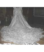 Gorgeous Size10-Beads,Sequins,Embroidered Lace Wedding Dress-Long Ruffle... - $367.50