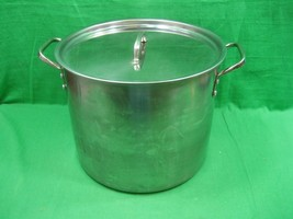 "Vintage Large Round Stock Pot Stainless Steel 10.25"" Tall & 11.5"" Diameter - $32.68"