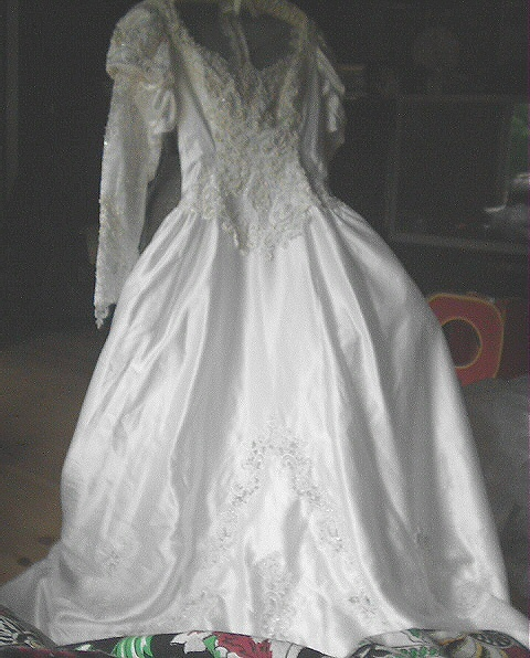 Gorgeous Size10-Beads,Sequins,Embroidered Lace Wedding Dress-Long Ruffled Tiered