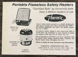 1966 Therm'x Portable Flameless Safety Heaters Print Ad Trailer Marine C... - $7.64