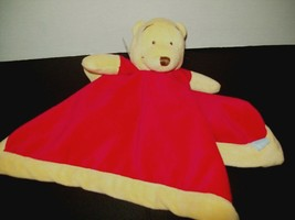 "Disney Winnie Pooh Baby Security Blanket Red Yellow Lovey Velour 13""x13"" - $14.62"
