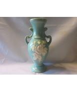 "Weller Cameo Rose 9 1/2"" Handled Vase - Aqua Matte with Shiny Glazed Bou... - £11.48 GBP"