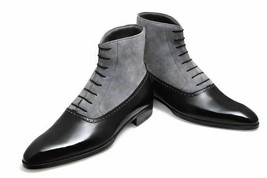 Men's High Ankle Two Tone Gray Suede Black Leather Premium Quality Boots - $159.55+