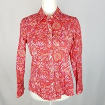 Liz Claiborne Button Down Shirt Top Sz 10 Petite Pink Red Floral Paisley... - $10.78