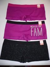 Women's Flirtitude Boyshorts Panties 3 Pair MEDIUM Pink Numb 1 Fam Black Lurex - $21.77