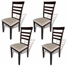 vidaXL 4x Dining Chairs Fabric Brown and Cream Seating Home Kitchen Furn... - $116.99