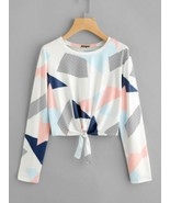 Fashion Women Ladies Print Bowknot Casual Loose Tops Blouse Shirts Long ... - $37.50