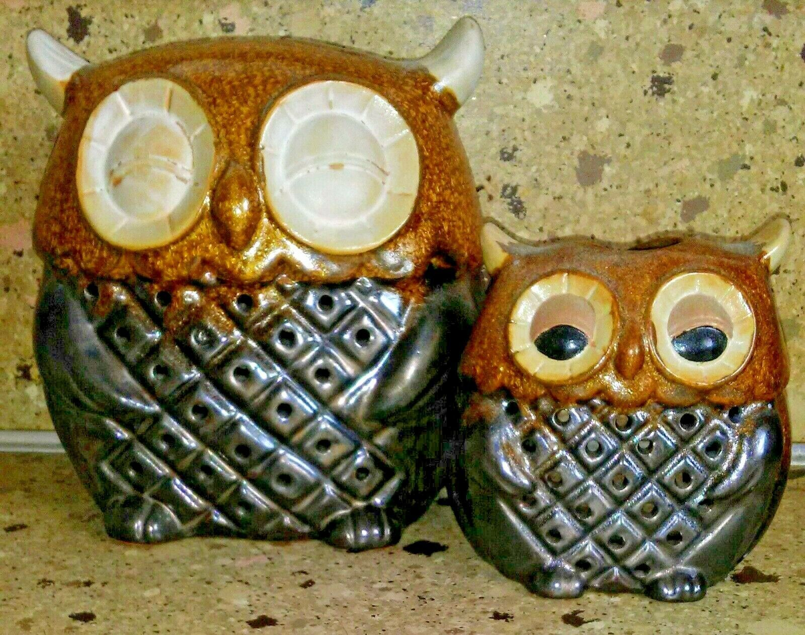 Set of 2 Owl Tea light Candle Holder Brown Ceramic