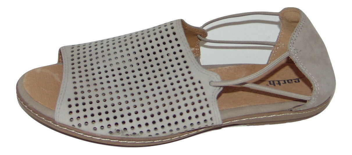 Primary image for EARTH 'Shelly' Perforated Taupe Nubuck Sandals 9 D Wide women