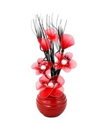 Flourish 704520 813 Red Vase with Red Nylon Artificial Flowers in Vase, Fake Flo - $59.00