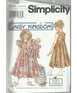 "Daisy Kingdom Pattern-Girls Dress-Hat- Doll Clothes For 17"" Doll  8-14 C... - $6.76"