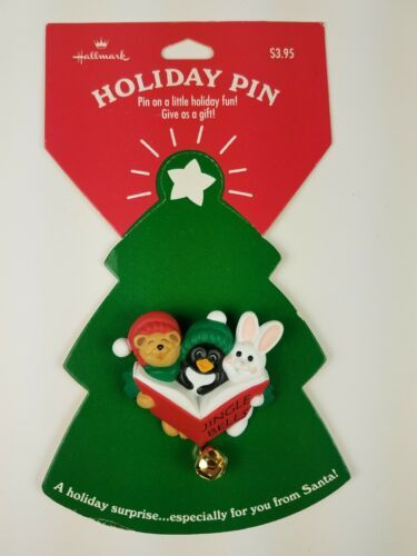 Hallmark Holiday Christmas Pin Jingle Bells Animal Carolers Bunny Penguin Bear