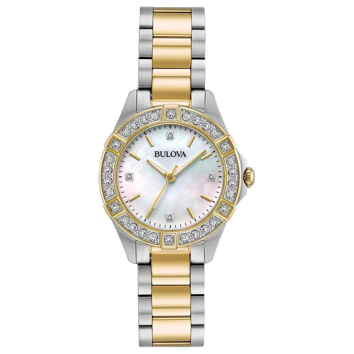 Bulova 22 Diamond Two-Tone Stainless Steel MOP Dial Ladies Watch 98R236