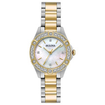 Bulova 22 Diamond Two-Tone Stainless Steel MOP Dial Ladies Watch 98R236
