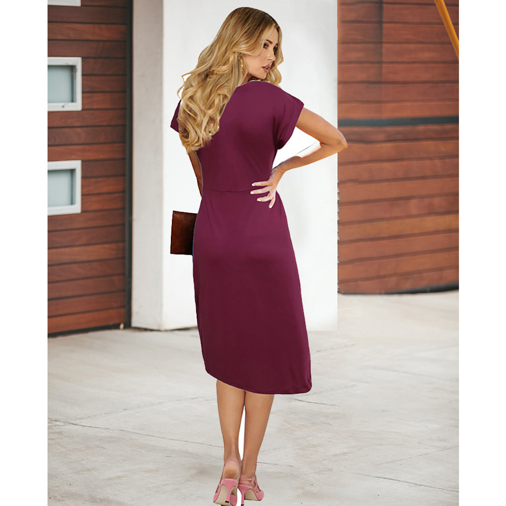 Burgundy  V-Neck Short Women Skirts With Short Sleeve Prom Party Gowns Summer