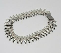 "Vintage Napier Silver Tone Teeth Metallic Link 7.5"" Bracelet EUC - $13.67"